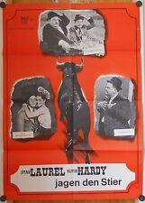 LAUREL & HARDY JAGEN DEN STIER (WA-Plakat '64 von STIERKÄMPFER WIDER WILLEN)