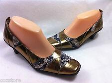 Bellini Pumps Snake Print Shoes Gold Womens Size 8 M
