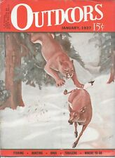 Outdoors  magazine January 1937 bobcat deer cover vintage hunting  field stream