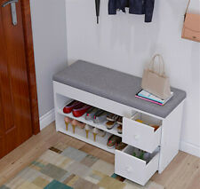 2 Tiers Shoe Storage Bench Cabinet Padded Seat Shelf Wooden Hallway Rack  White