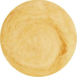 Carded Roving Wool Felting Spinning Wet Craft Hand VK2005 - Beige Cream Yellow