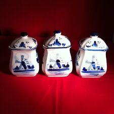 Dutch Delft Blue Porcelain Hand painted Set of 3 Spice Pots