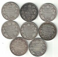 8 X CANADA TWENTY FIVE CENTS QUARTERS KING GEORGE V SILVER COINS 1912 - 1919