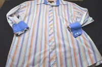 Moshiko Coral Blue White Stripe Large 16 - 16 1/2 Long Sleeve Men's Shirt