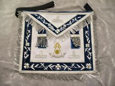 Past Master Masonic Apron w/ Square Chains Stretch Belt Satin Pocket NEW!