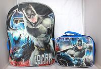 Boys Batman Dark Knight Blue School Backpack Lunch Box Book Bag Kids Children