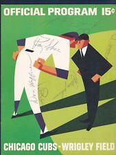 Chicago Cubs vs Cincinnati Reds 1966 signed baseball scorecard with Vada Pinson