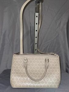 tory burch robinson perforated floral double zip Gray Tote Shoulder Bag