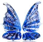 Butterfly Glass Figurine, Blown Art, Blue and Black Animal Ornament
