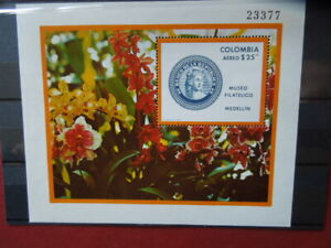 G2227   COLOMBIA  1977  FLOWERS  MUSEO FILATELICO  M/S  MNH