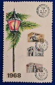 1972/1968 MALTA CHRISTMAS SET + MALTA PHILATELIC EXHIBITION SHC ON EXHIBIT CARD