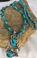 Native American Sterling Silver Kingman Turquoise Nugget Pendant Necklace Rare