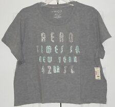 NEW! AEROPOSTALE Heather Gray CROPPED Tee w/ AERO Times Sq. NY 42nd Street ~ XXL