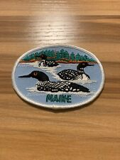 State of Maine Black White Swimming Ducks in Lake ME Souvenir Embroidered Patch
