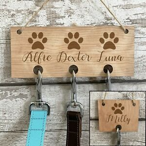 Personalised Dog Lead Hook Wood Engraved Puppy Collar Lead Holder Pet Owner Gift