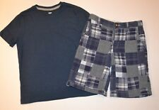 NWT Old Navy Boys Navy Blue Patchwork Plaid Shorts & Top Lot 8 M *Portrait