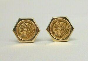 VTG 14K Yellow Gold Indian Head 1915 Liberty Coin Pierced Earrings 21.1 Grams