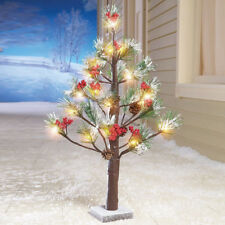 Yard Lighted Christmas Tree Xmas Garden Evergreen Branches Indoor Decoration Art