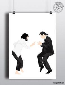 PULP FICTION - Minimalist Movie Poster Posteritty Minimal Art Print Dance finger