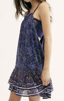 Free People Dress Halter Mini Swing Dress Floral Ruffle Hem Blue Lined Sz XS B6