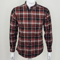 Eddie Bauer Men's Classic Fit Red Plaid Flannel Long Sleeve Button Down Small S