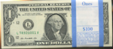 1 Packs  2009 100  ONE DOLLAR $1 Notes  UNCIRCULATED SEQUENTIAL TWO PERFECT
