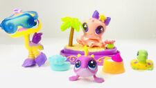 LPS Littlest Pet Shop Hasbro Ostrich Octopus Piranha w/Beach Accessories