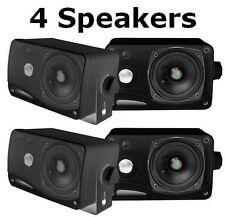 """QTY 4 NEW Pyle PLMR24B 3.5"""" 200W 3-Way Weather Proof Mini Box Speakers (Black)"""