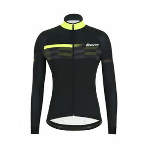 Santini Men's  Poi Long Sleeve Cycling Jersey in Black/Yellow Size L