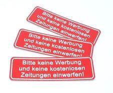 """3x Hinweisschild Aufkleber """" Bitte keine Werbung & Zeitungen """" Wetterfest"""