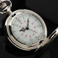 Vintage Silver Tone Quartz Pocket Watch Pendant Mens Chain Women Gifts Necklace