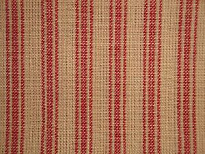 Red And Natural Tan Primitive Ticking Stripe Woven Cotton Homespun Sewing Fabric