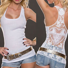 Sexy.Women Summer Lace Vest Sleeveless Shirt Blouse Casual Tank Top T-Shirt HC