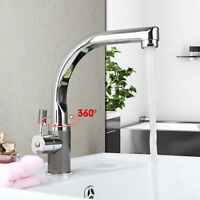 Swivel Spout Bathroom Basin Sink Mixer Single Handle Hole Deck Mount Faucet Taps