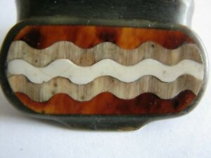 Black horn snuff box with marquetry on lid
