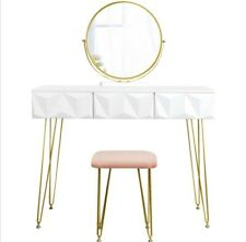 Dressing Table White & Gold Vanity Set
