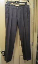 SZ 31W X 30L ZARA MAN MENS BLACK COTTON & WOOL FLAT FRONT DRESS PANTS, 31X30 EUC