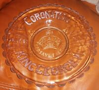 RARE PRESSED GLASS KING GEORGE THE VI MAY 1937 CORONATION GLASS PLATE/BOWL