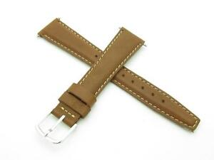High Quality Genuine Brown Leather 16mm Watch Band With Pins Included