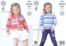 Kids Double Knitting Pattern King Cole Cardigan Sweater Jumper Splash DK 4246