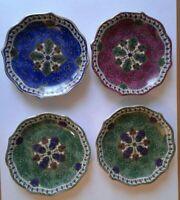 4 1990 SAMARKAND PORCELAIN Hand Decorated Asian Coasters Japan Green, Burg, Blue