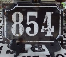 Large old black French house number 854 door gate wall plate enamel metal sign