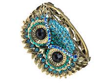 Antique-Inspired Gold-Tone Blue Crystal Rhinestone Hoot Owl Face Bracelet Bangle