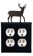 Wrought Iron DEER Double Electrical Outlet Covers New Black Country Wall Decor