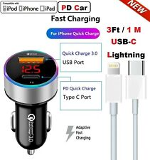Fast Car Charger iPhone Charger Usb-C 8Pin Cable For iPhone 12 11 Pro Max XS XR