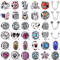 Xmas European S925 silver charms Safety chain clip beads For bracelets Bangles