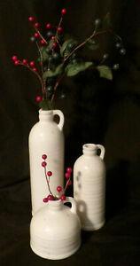 Old Style Milk Jugs Bottles 3pc Set White Hand Thrown Milk Jugs Pitchers Bottles