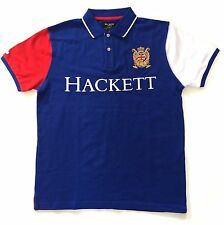 Mens Hackett Polo Shirt London Piquet Small Royal Blue White Trim Polo Club Sale