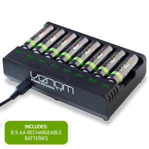 Rechargeable Battery Charging Dock plus 8 x High Capacity 2100mAh AA Batteries