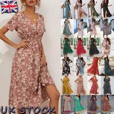 Women's V Neck Floral Midi Dress Ladies Short Sleeve Summer Beach Boho Sundress